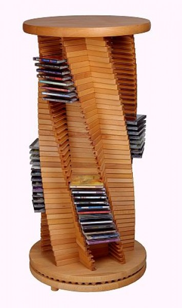 edle cd s ule cd rack aus holz kirsche spiralform cropack onlineshop. Black Bedroom Furniture Sets. Home Design Ideas