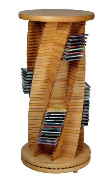 edle cd s ule cd rack aus holz buche spiralform cropack onlineshop. Black Bedroom Furniture Sets. Home Design Ideas